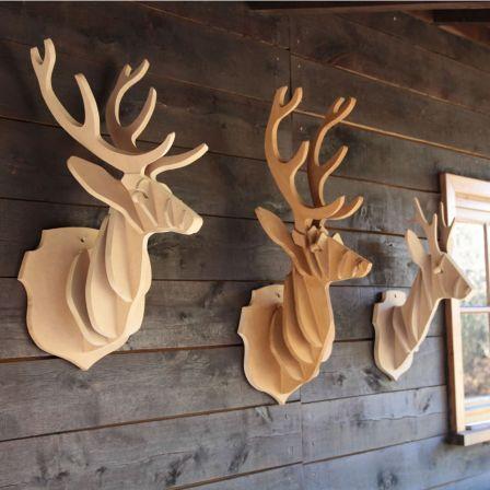troph s de cerfs en bois deco pinterest cerf en bois et bois. Black Bedroom Furniture Sets. Home Design Ideas