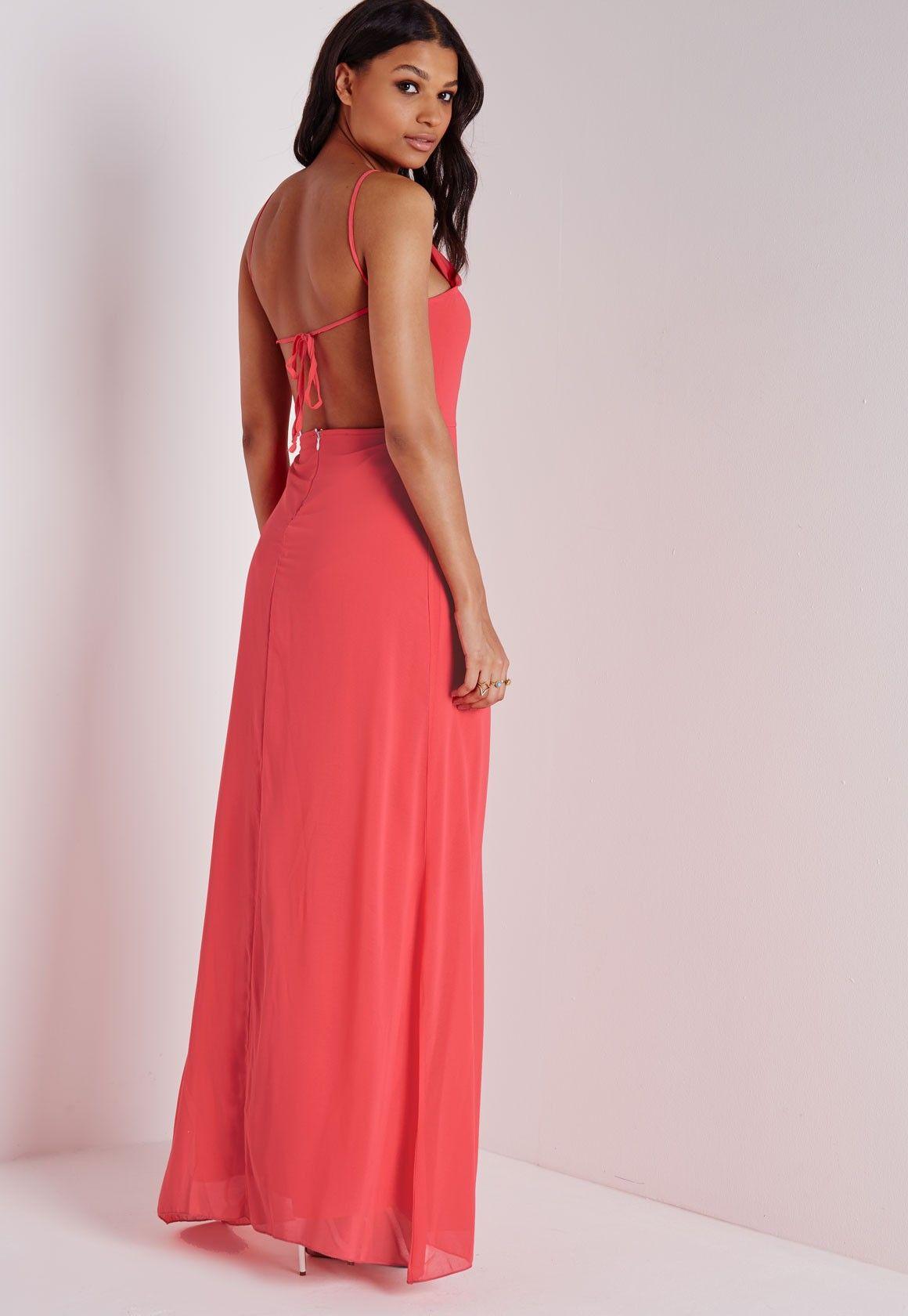 Missguided - Robe longue rose corail dos nu à bretelles fines ... 78fca72c8bb1