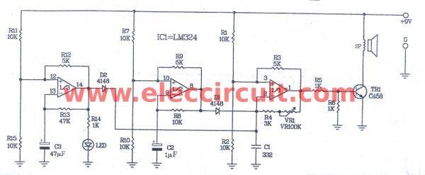 Buzzer cricket sound effect circuit using LM324   ArduNoise