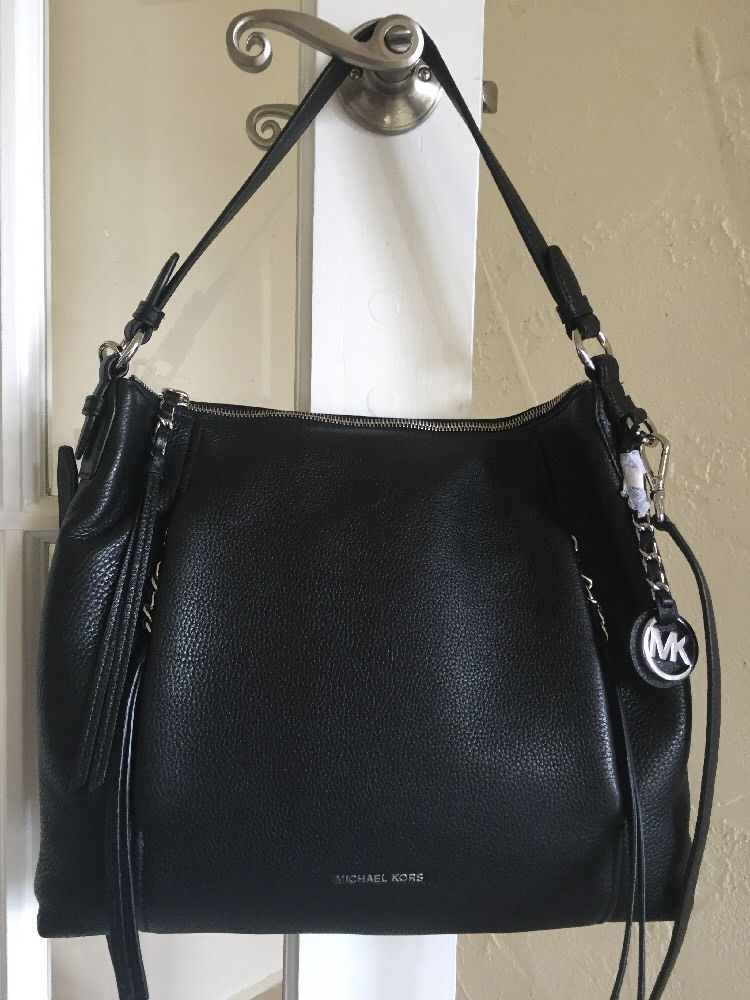 Michael Kors Corinne Large Leather Shoulder Bag BLACK Silver Hardware   MichaelKors  ShoulderBag 1be531316
