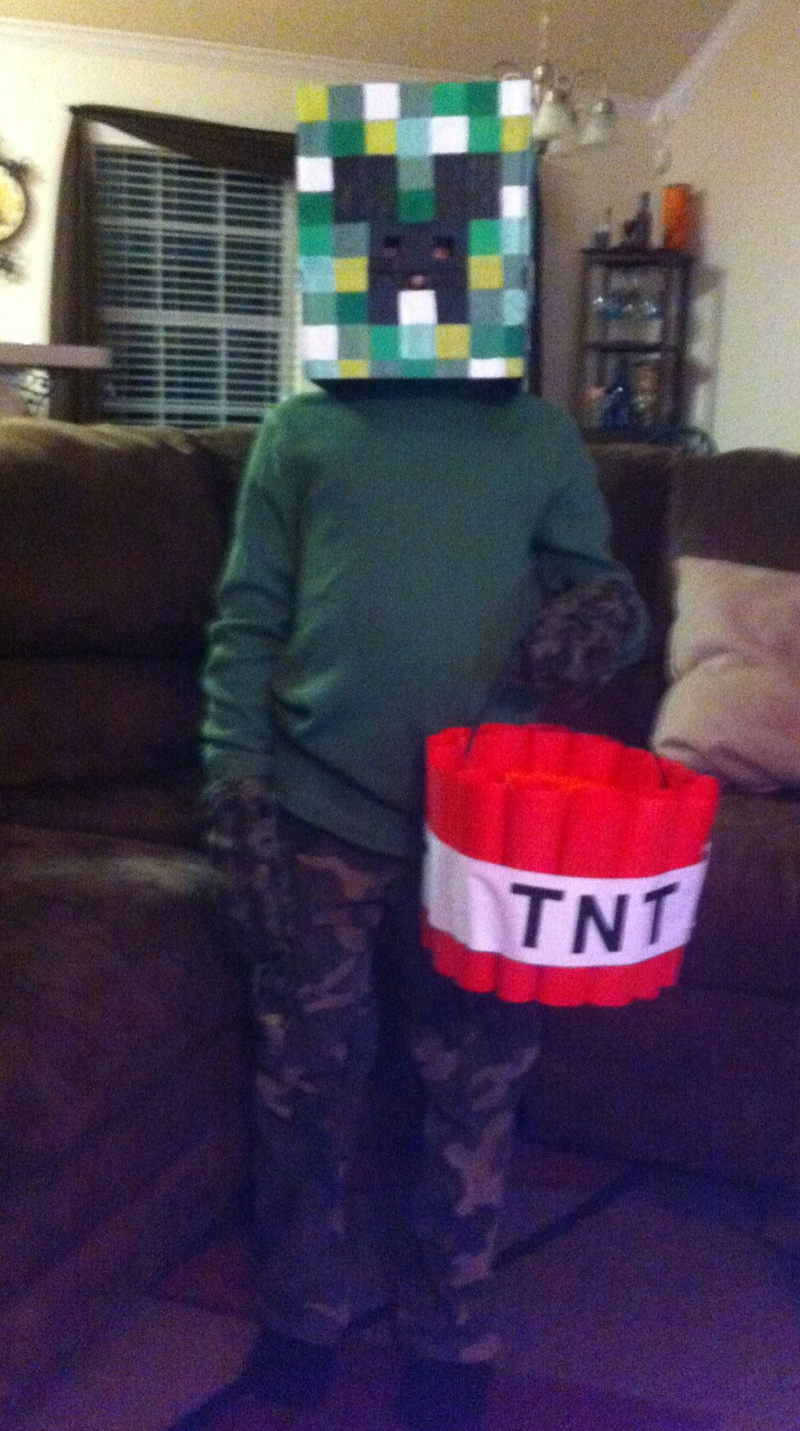 Minecraft Creeper Halloween Costume loe the basket would be simple ...