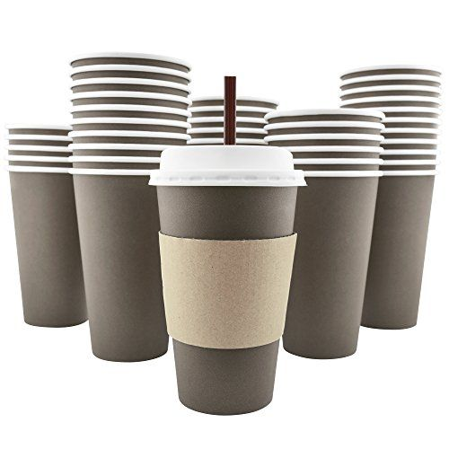 16 oz Insulated Ripple Paper Hot Coffee Cups With Lids /& Stirrers