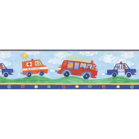 Brewster Home Fashions Kids World Fire Engines Fire Truck Border