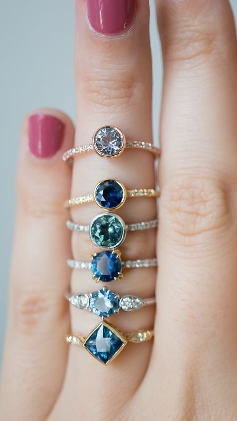Montana Sapphire Engagement Rings, one of a kind creations with an ethical sapphire center stone. By S. Kind & Co