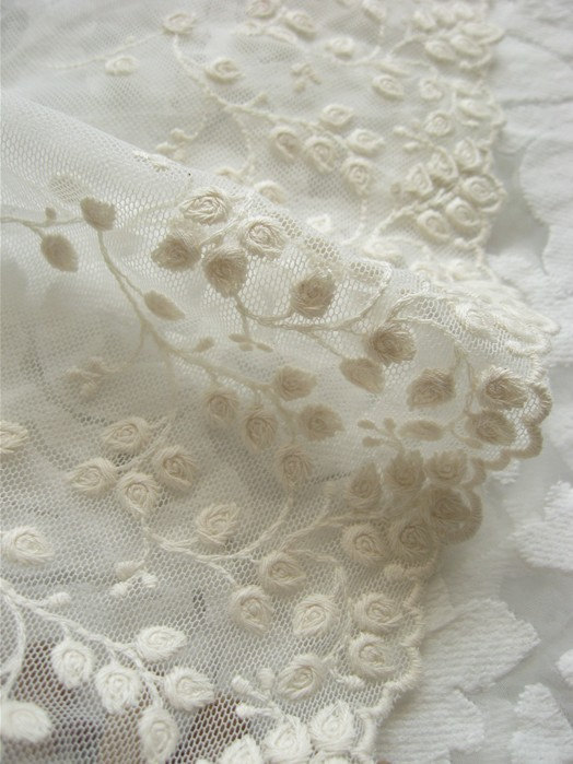 cream lace trim , vintage style lace trim , cotton embroidered mesh lace with retro floral,wscx019m