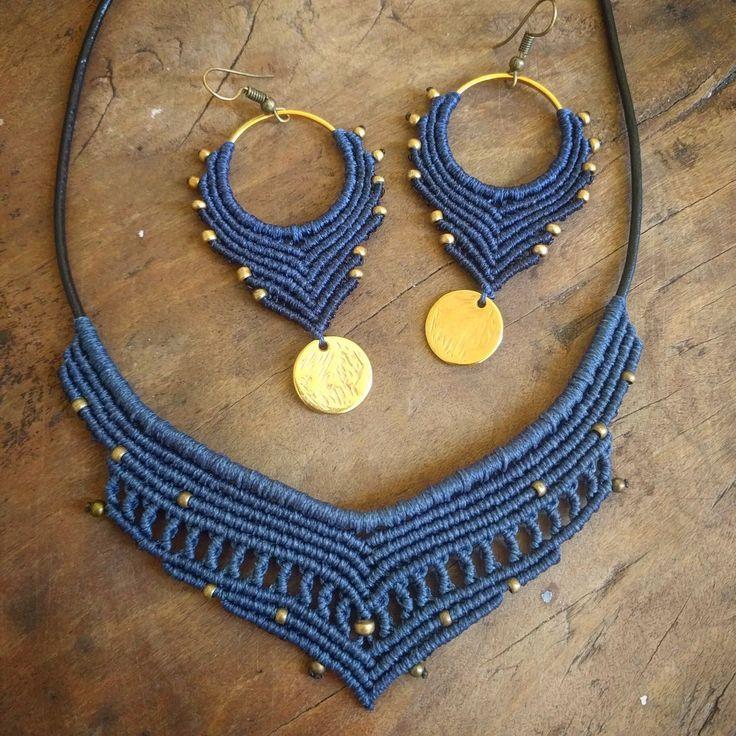 Pendientes y Collar Gypsy Queen, Macrame Gypsy, Tono Azul Dorado