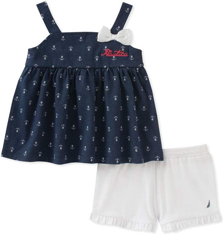 11288acfd0e5 Nautica Kids 2-Piece Anchor Print Top and Short Set in Navy White ...
