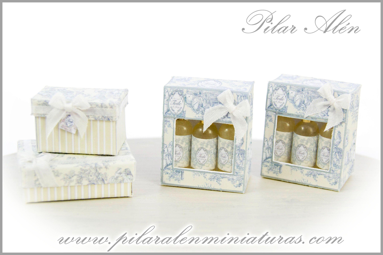 Caja de perfumes para casa de muñecas. Toile de Jouy amarillo pastel ...