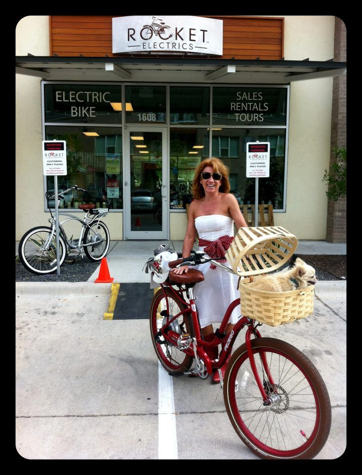 Cindy With Her Doggy Basket And Some Cool Matching Red Boots Bike Store Electric Bike Bike