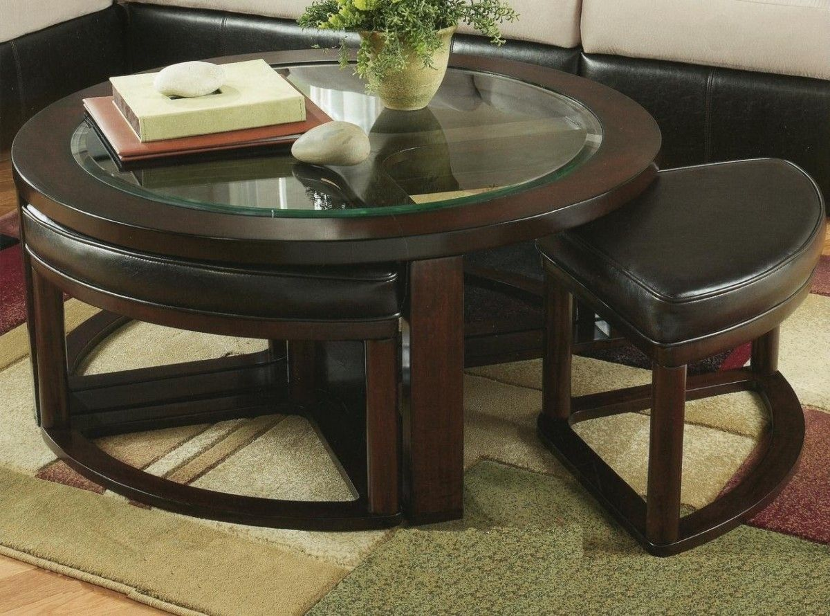 Round Coffee Table With Ottoman Seating | http://therapybychance.com ...