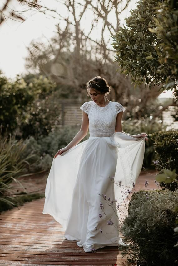 Short Sleeve Womens Dress, Vintage, Ivory, Inspirational BOHO, Boat Neckline, Crochet, Chiffon, Geom