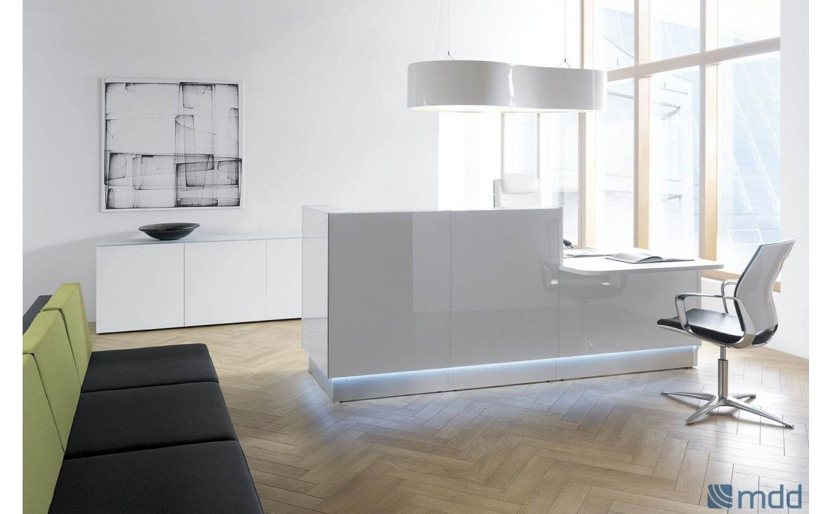 custom office furniture design. LINEA U-Shape Countertop Reception Desk, High Gloss White Custom Office Furniture Design