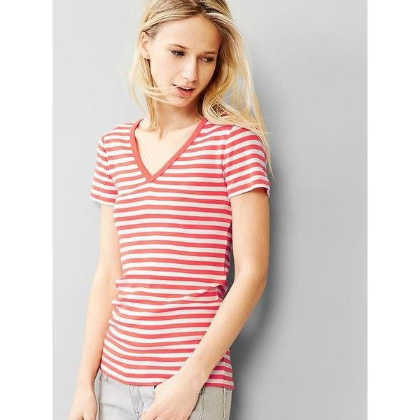 Gap Modern Stripe V Neck Tee ($8.99) ❤ liked on Polyvore featuring tops, t-shirts, coral stripe, petite, short sleeve t shirts, green t shirt, green tee, green striped t shirt and striped t shirt