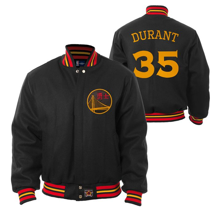 Golden State Warriors JH Design Chinese Heritage Kevin Durant #35 All-Wool Jacket - Black