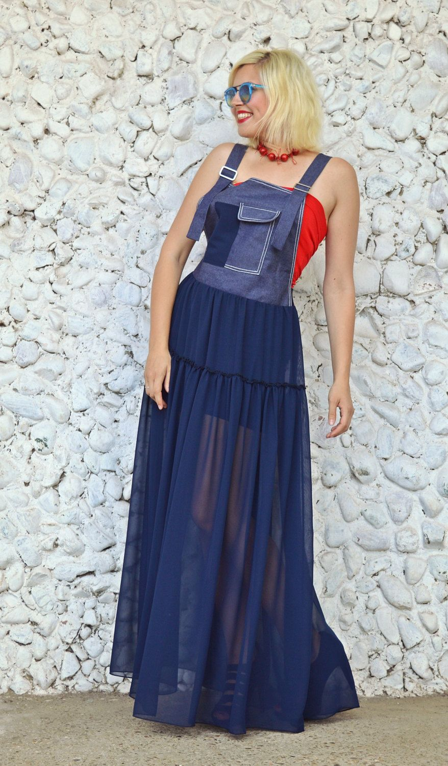 New in our shop navy denim dress long navy overall dress sheer