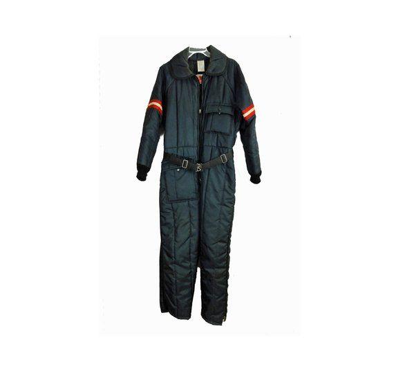 3a084e0d28f1f Men's 70s Snowmobile Jumpsuit Ski Suit Snowsuit Medium Navy Blue Quilted  Nylon Hoodie Vintage 1970s Snowboard