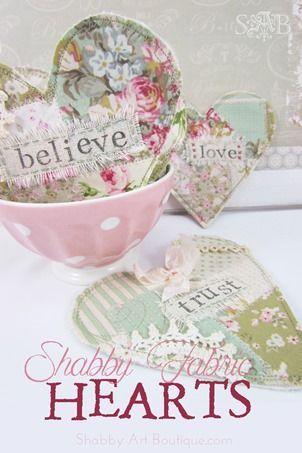 Faux Patchwork Christmas Coasters - Shabby Art Boutique | Fabric hearts, Shabby fabrics, Handmade gi