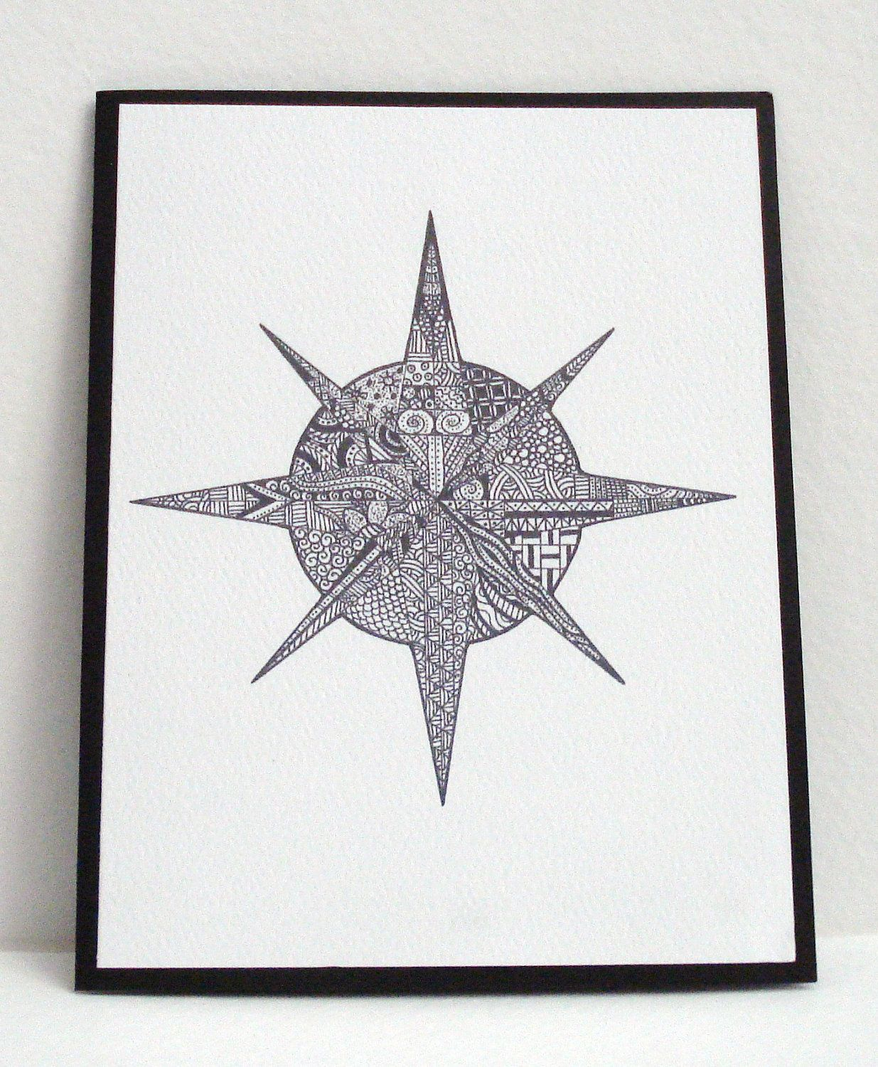 Compass Rose Zentangle Cards Set Of 4 Greeting Cards