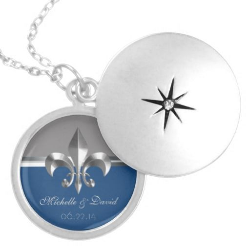 Personalized Silver Fleur de Lis Keepsake Custom Jewelry: Commemorate your wedding , anniversary, or other special event with this beautiful locket featuring a silver Fleur de Lis on a bi-color gray / Monaco blue background.