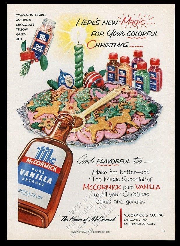 1954 McCormick vanilla extract Christmas cookies photo