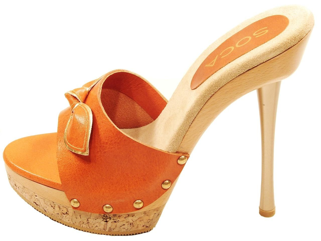 Details about WOMENS SOCA ELSA HIGH HEEL WOOD CORK PLATFORM SLIDES ...