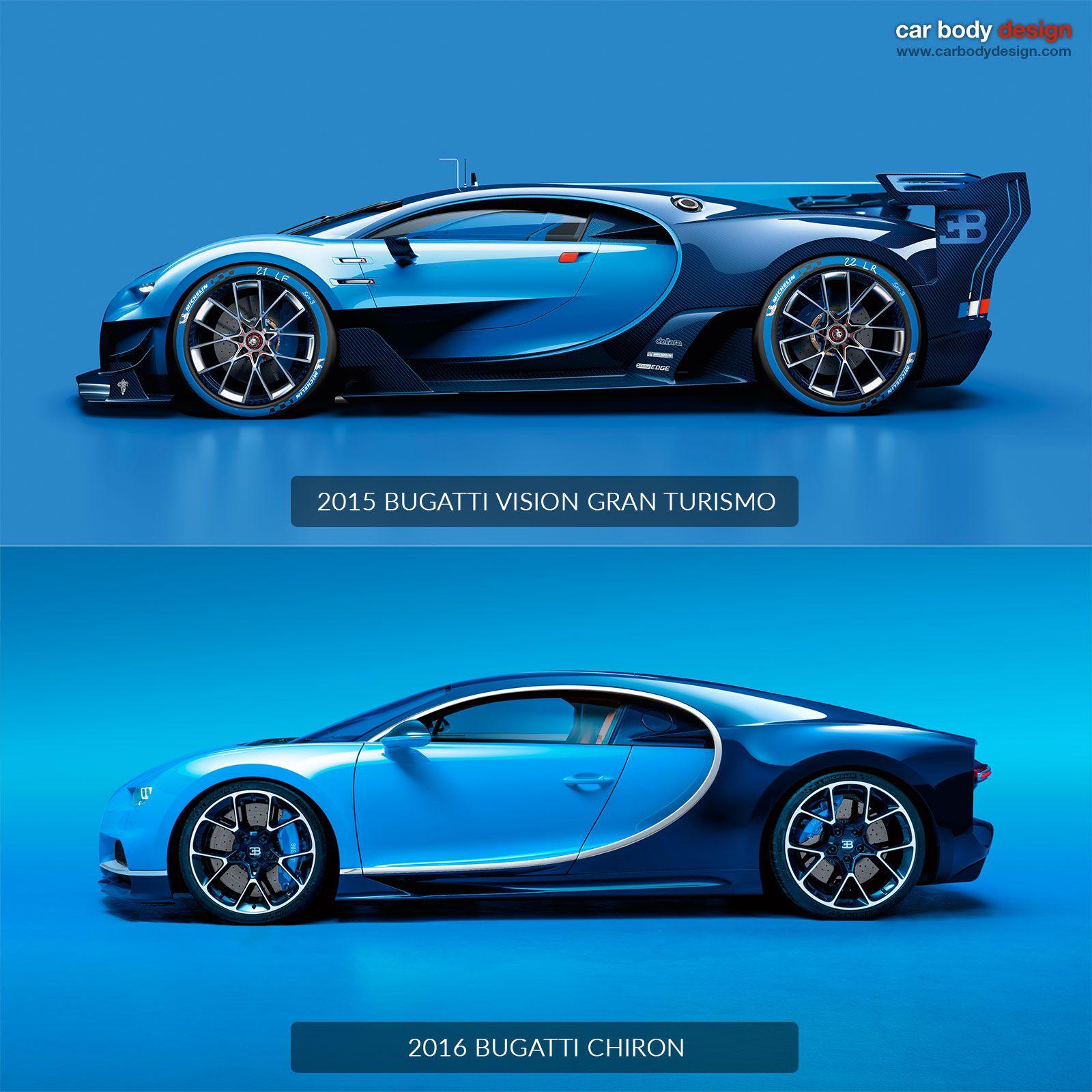 Bugatti Chiron Vs Vision Gran Turismo Design Comparison Bugatti Chiron Bugatti Eb110 Bugatti