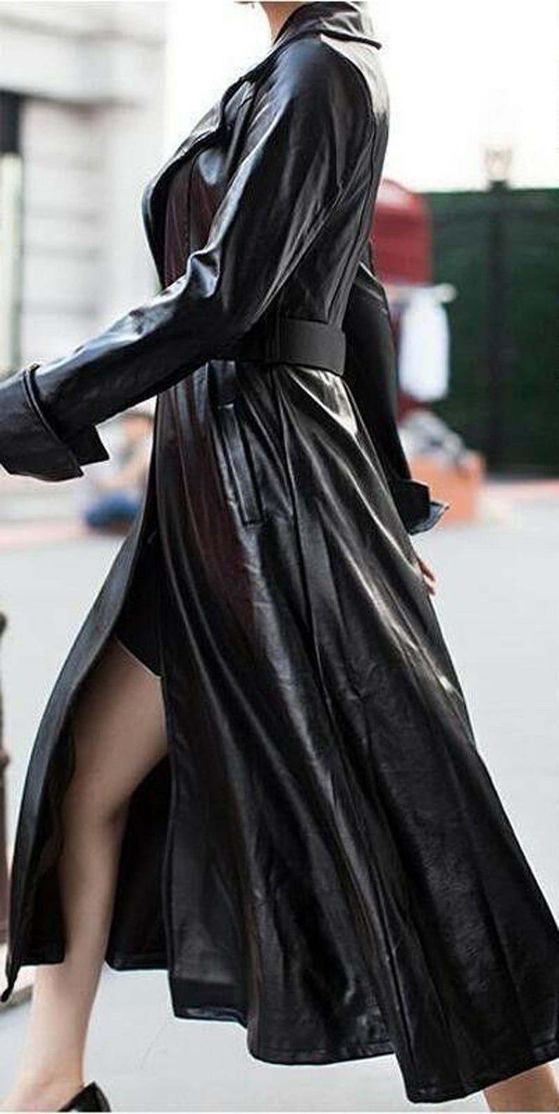 NOORA NEW HEAVY Black Leather Trench Coat Women's Genuine