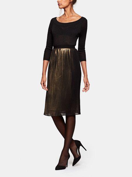 ff11573a5e9f77 Plisse Rok Goud - Costes Fashion