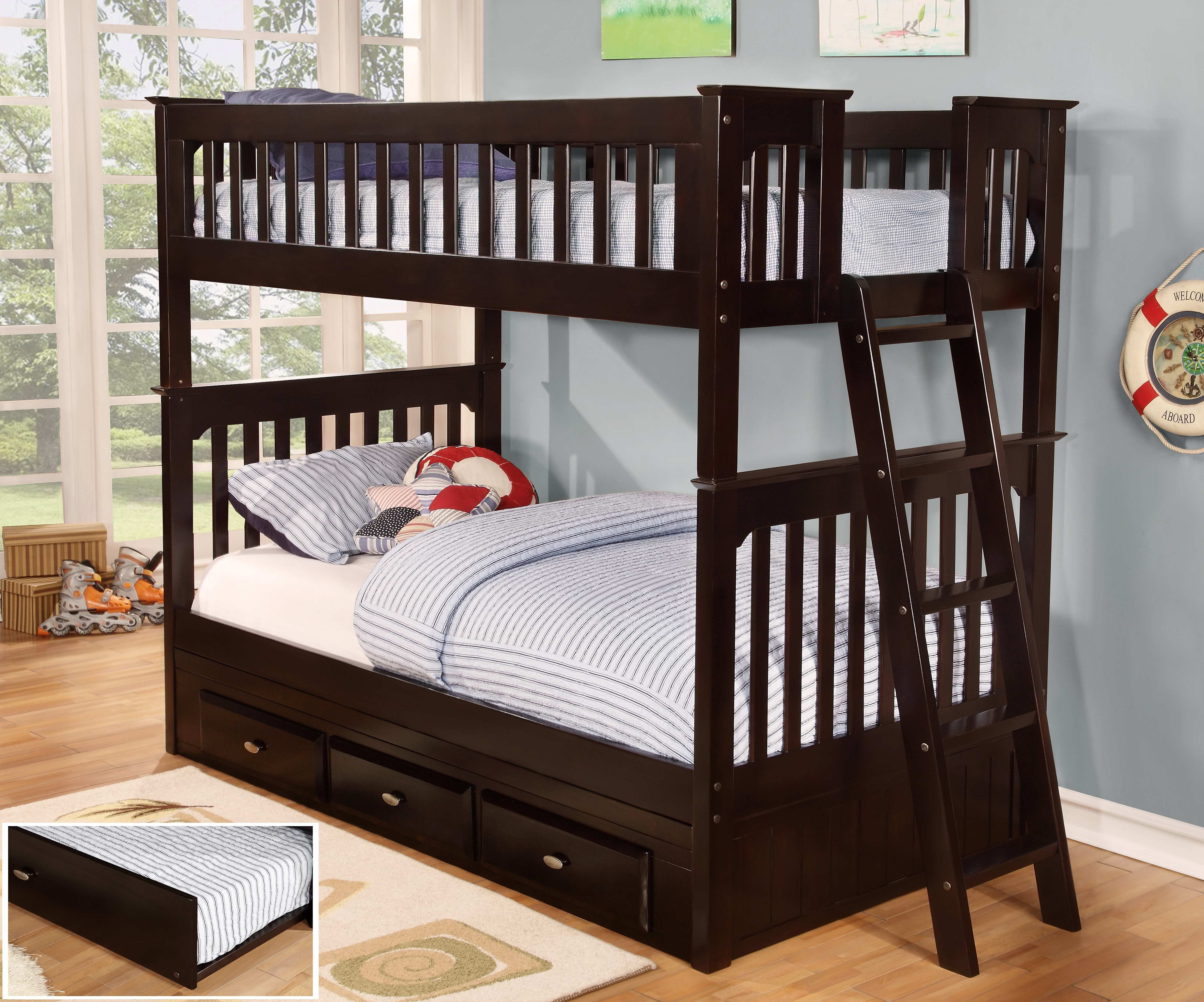 Discovery World Furniture Twin over Twin Espresso Bunk Beds | Twin