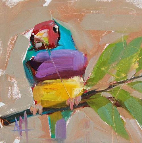 Lady Gouldian Bird Art Print by Angela Moulton 6 x 6 inch