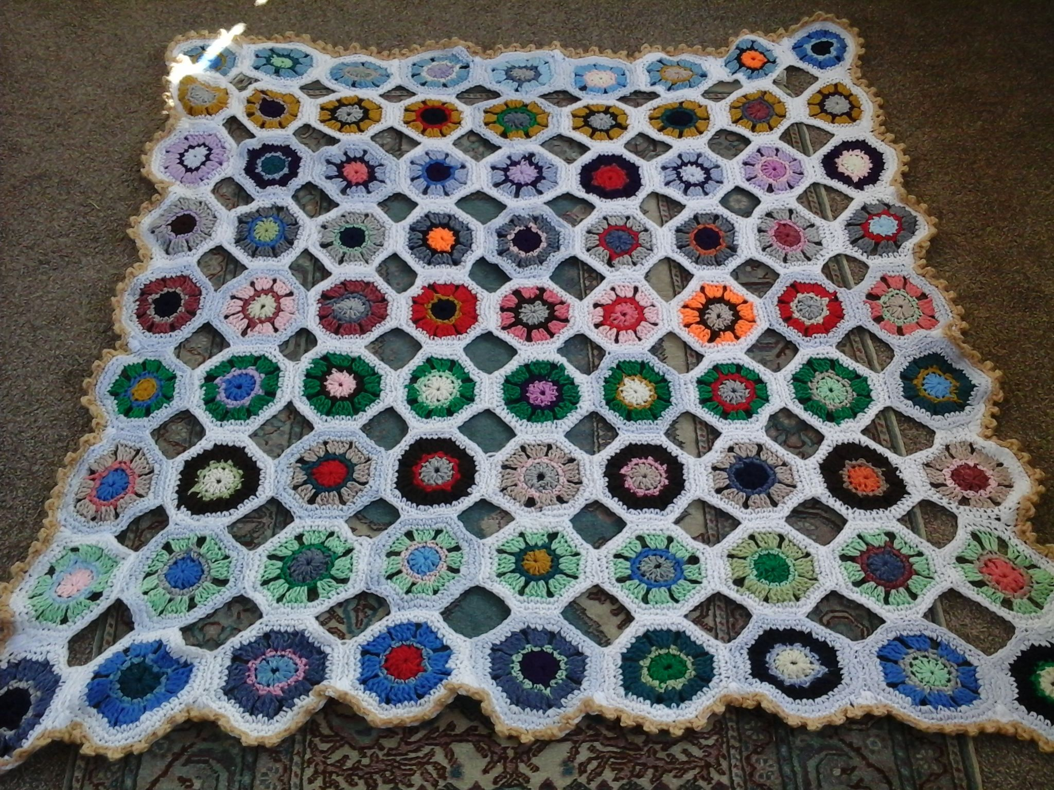 A blanket made from octagon grannies for my new niece Roisin.