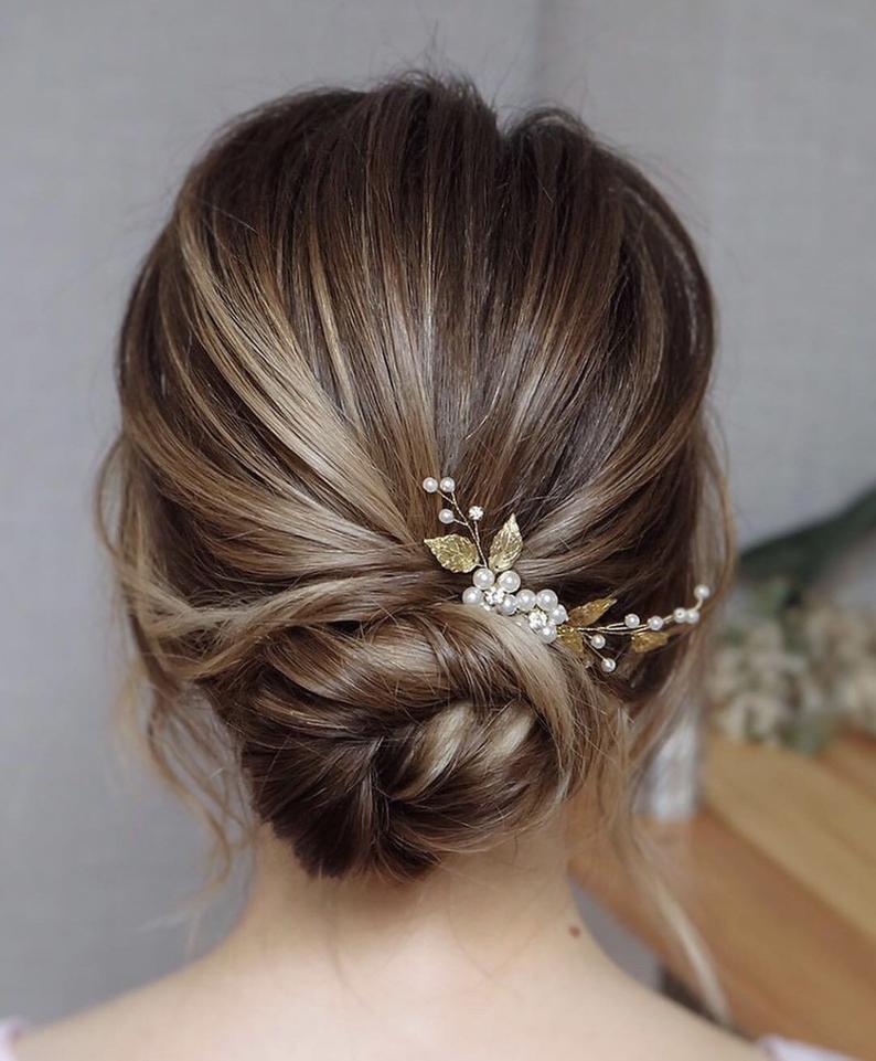 Bridal Hair Piece Wedding Hair Pins Bridal Hair Accessories Etsy In 2020 Bridal Hair Pins Summer Wedding Hairstyles Gold Bridal Hair Pin