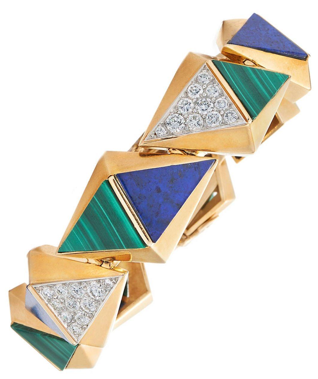 French 1970s Modernist Lapis Lazuli Malachite Diamond Gold