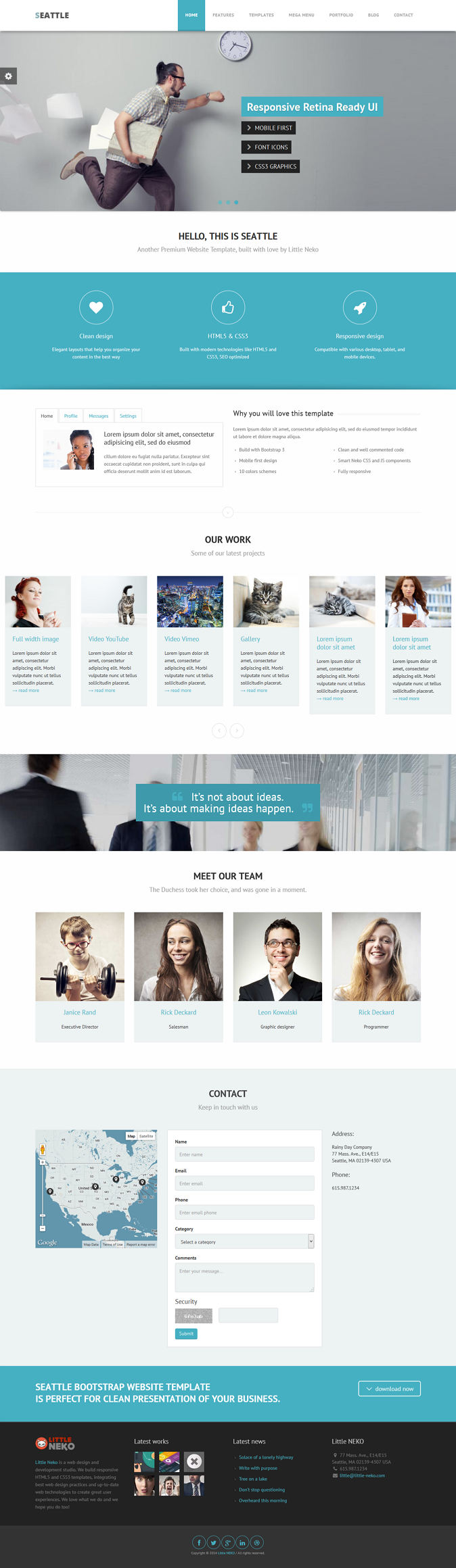 Seattle Is A Boostrap 3 Clean Mobile First And Easy To Use Premium Multipurpose Website Te Website Design Layout Web Design Projects Web Design Inspiration