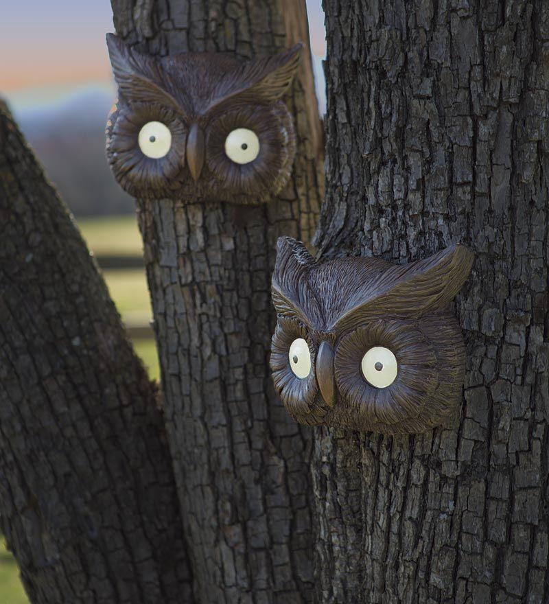 Glowing owl eyes halloween tree face decorative garden