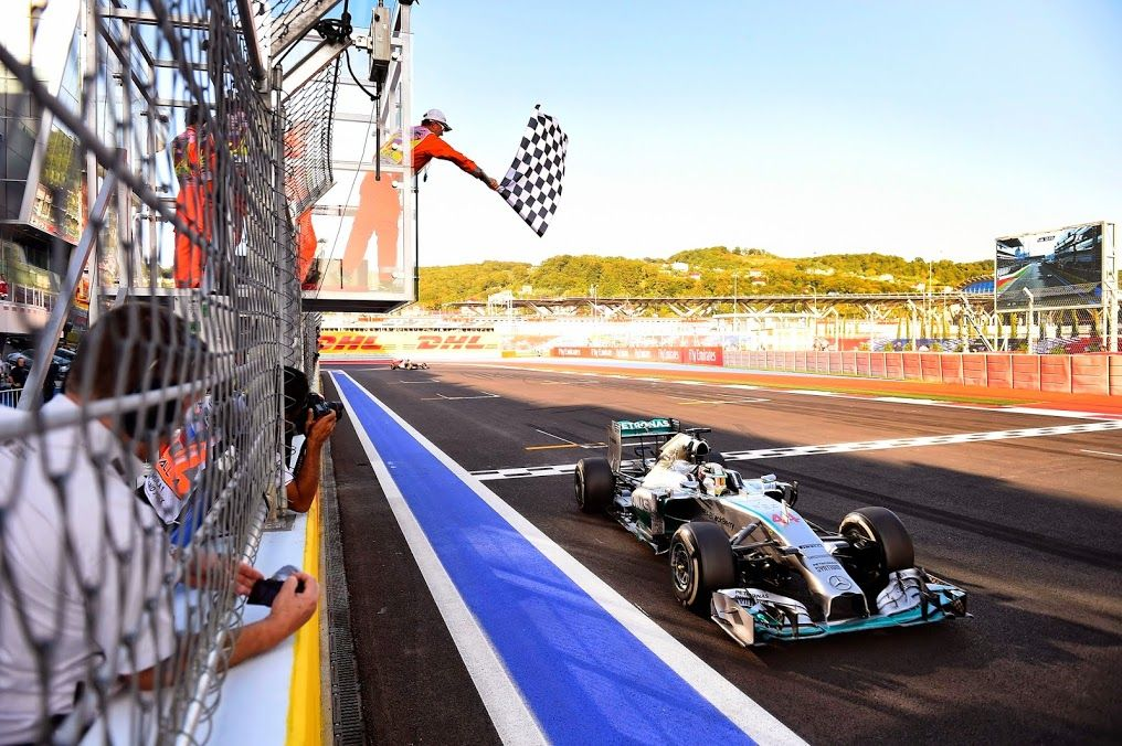 Lewis takes the checkered flag at the Sochi Autodrom