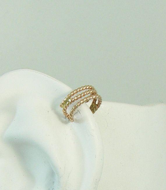 MINI Ear Cuff Cartilage Clip14K Solid Gold Triple Rope Non-pierced Ear Band MC14KTROPE