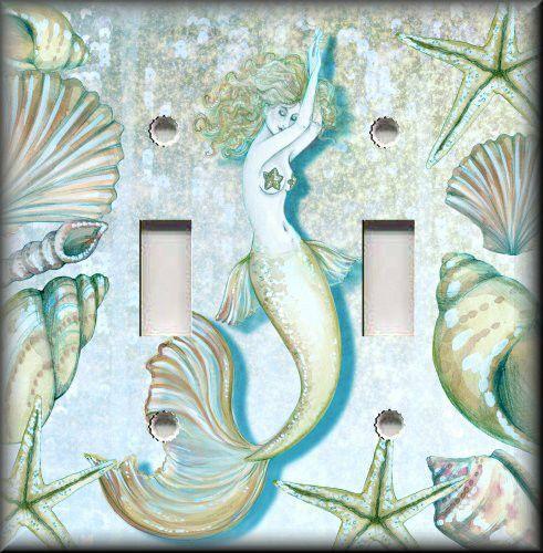 Light Switch Plate Cover   Tranquil Mermaid   Beach Bathroom Home Decor