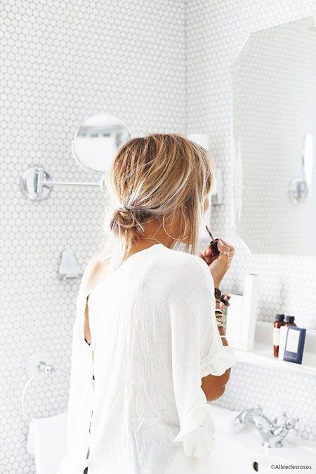 Photo of kurze Frisuren – Low Bun für kurzes Haar – Uber Frauen