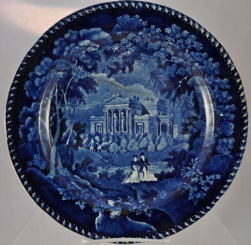 "Wm. Adams Dark Blue Staffordshire ""Villa in Regents Park"" Plate 1827"