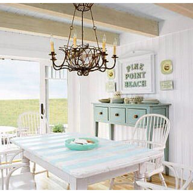 Soft beach themed dining room, would be so cute for a bedroom