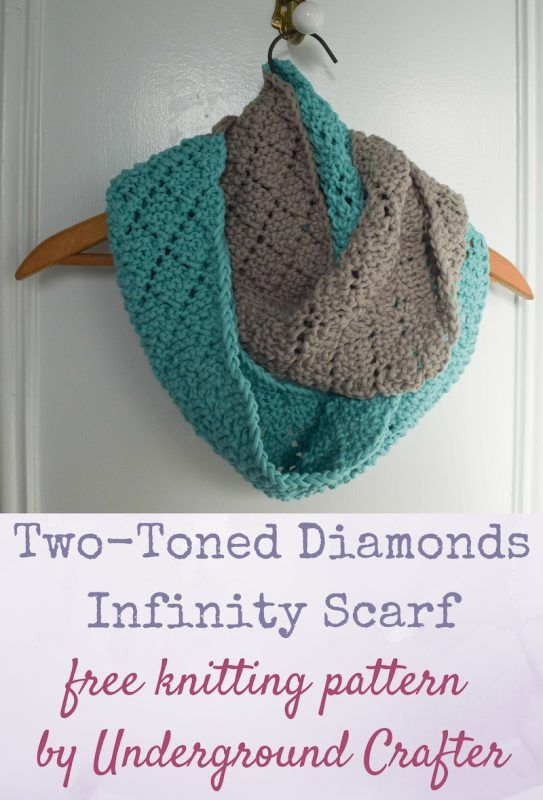 Free knitting pattern: Two-Toned Diamonds Infinity Scarf | Patrón de ...