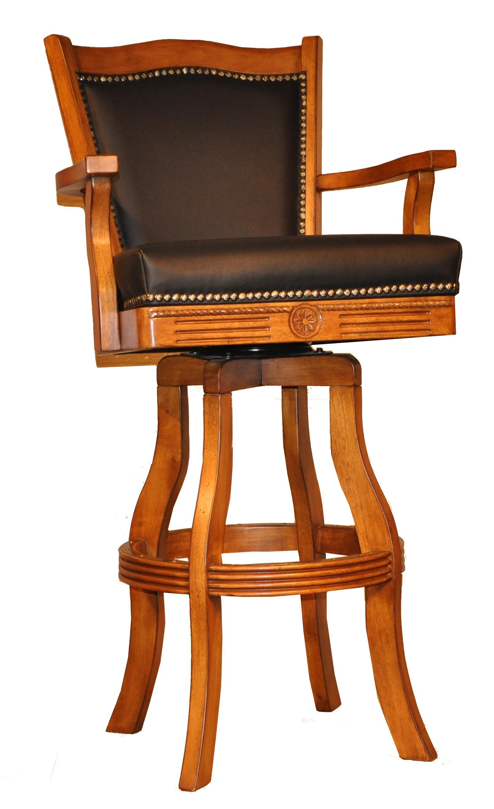 Classy wooden swivel bar stool design inspiration in honey oak finish with dazzling leather top and back and arm support also four curves legs