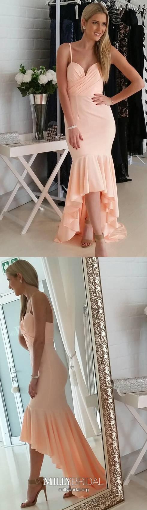Pink prom dresses high low mermaid prom dresses v neck modest prom