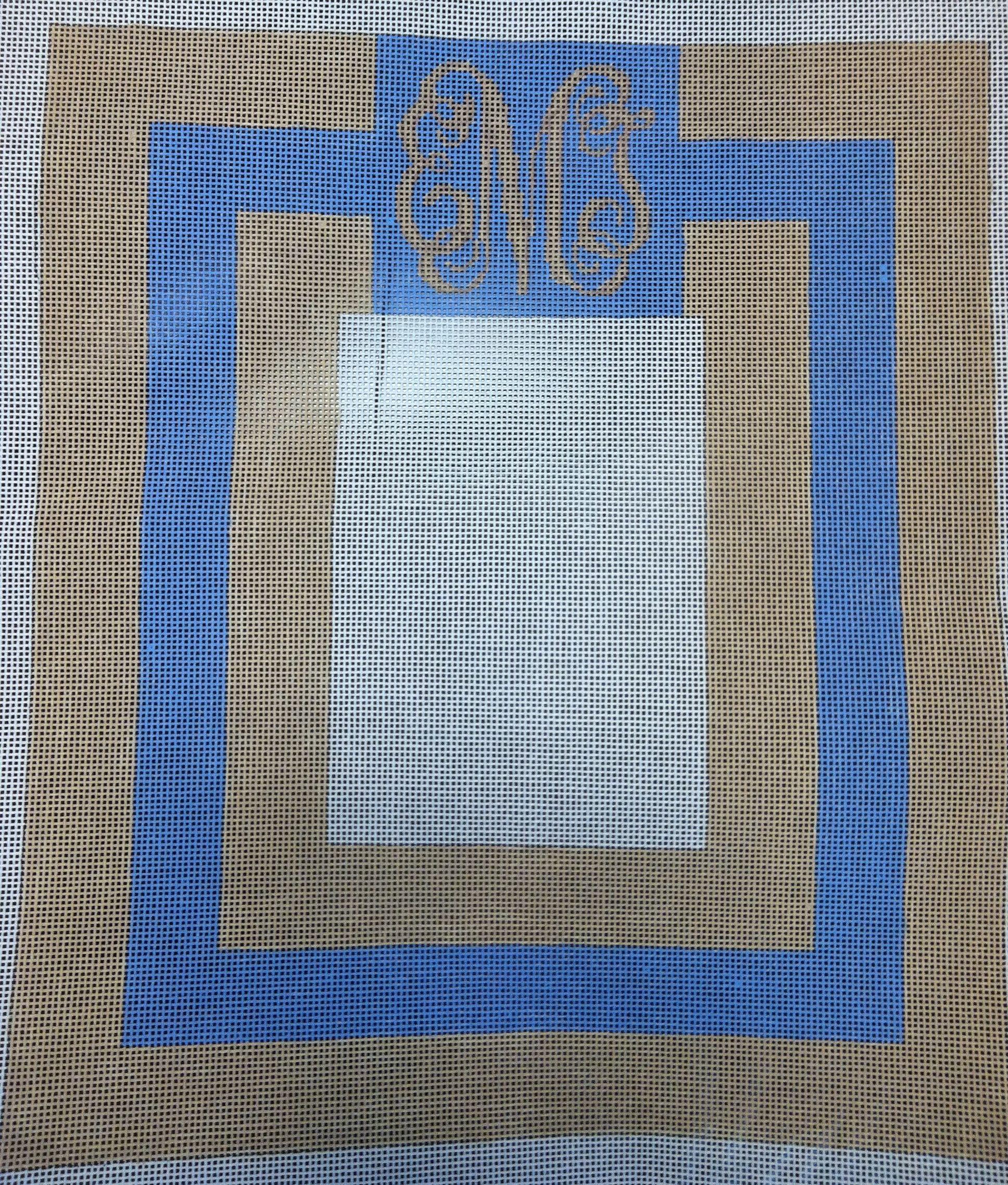 Monogram needlepoint picture frame canvas   Custom Monogram ...