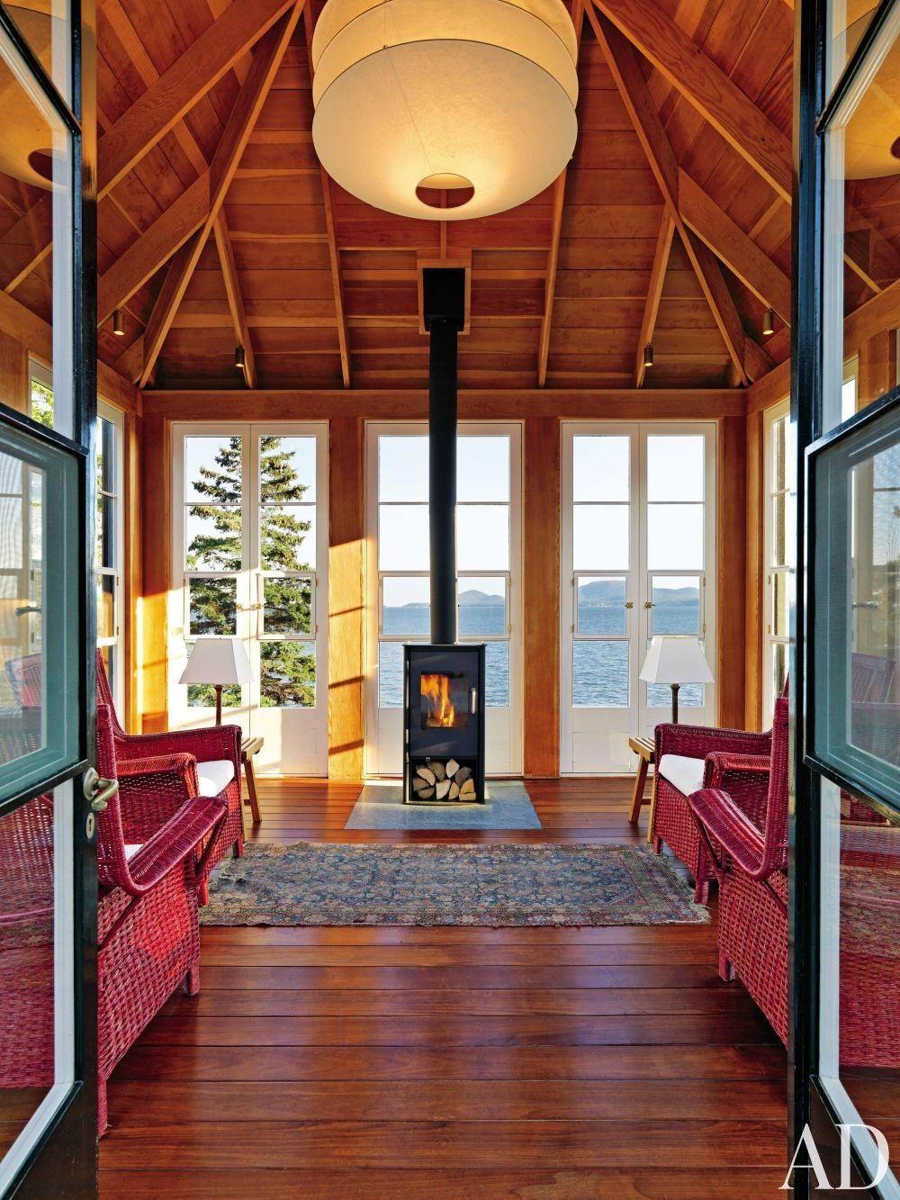Rustic Living Room by Len Morgan via @archdigest # ...