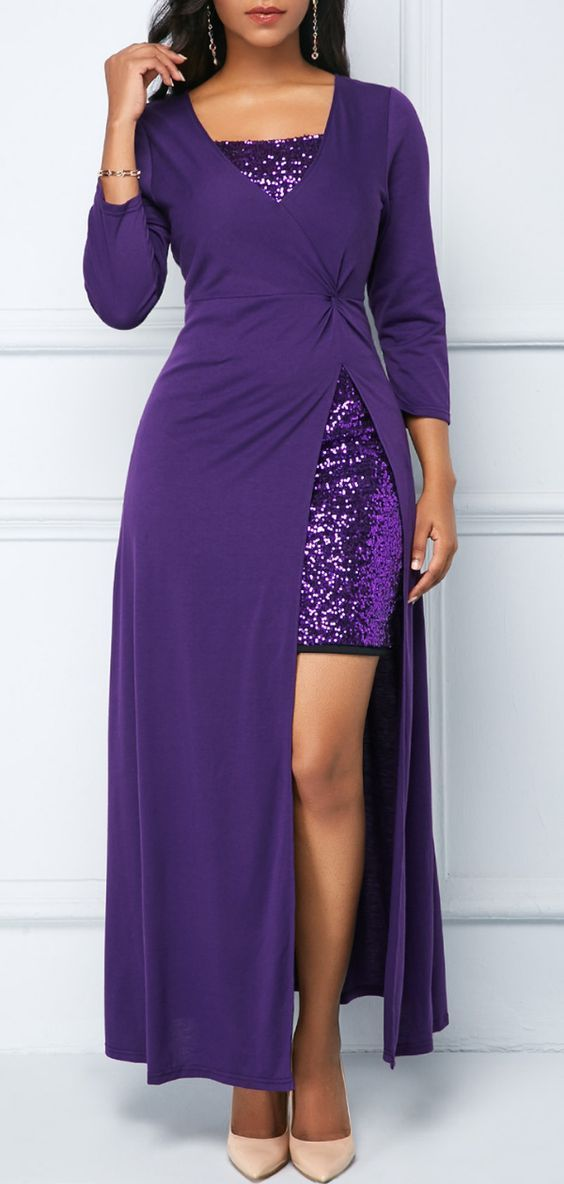 Purple Parties Maxifrom Back Dress Zipper And Mini mN8w0n
