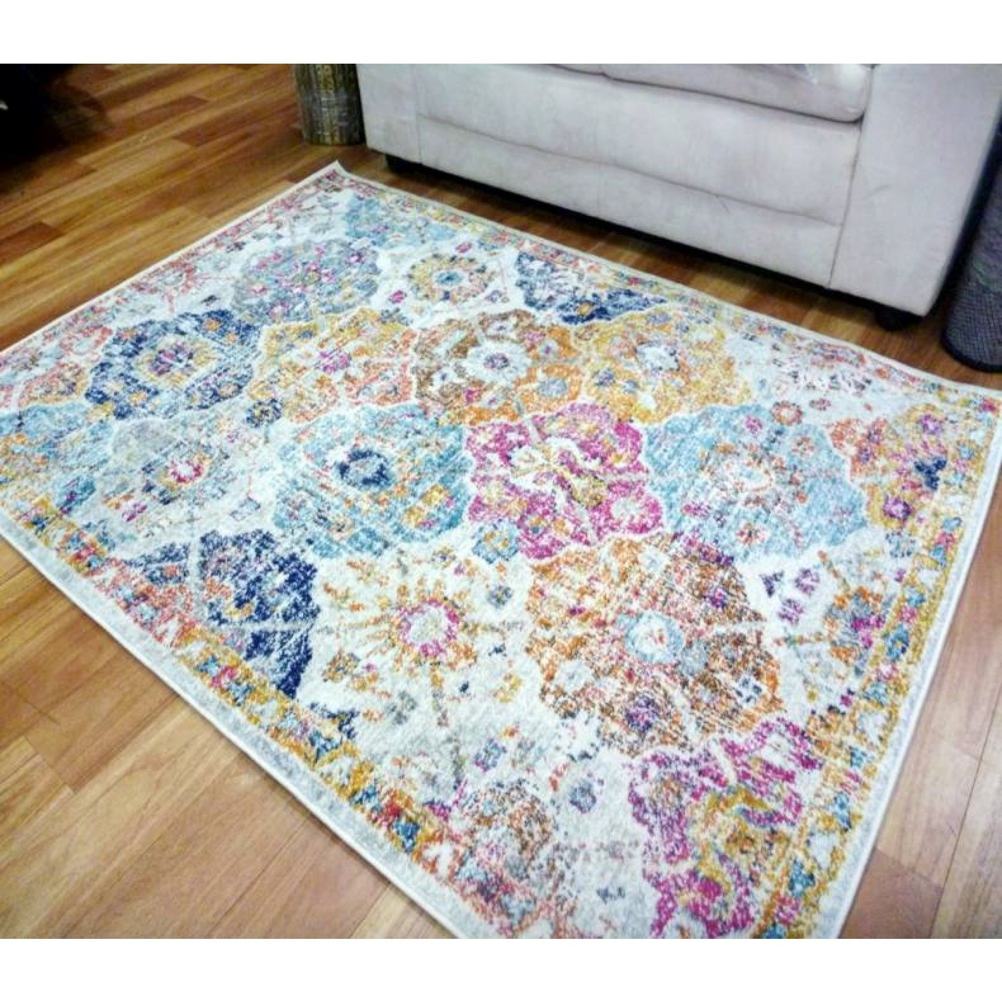 Washed Out Antique Persian Design Floor Area Rugs Contemporary Coloured Wilton Garden