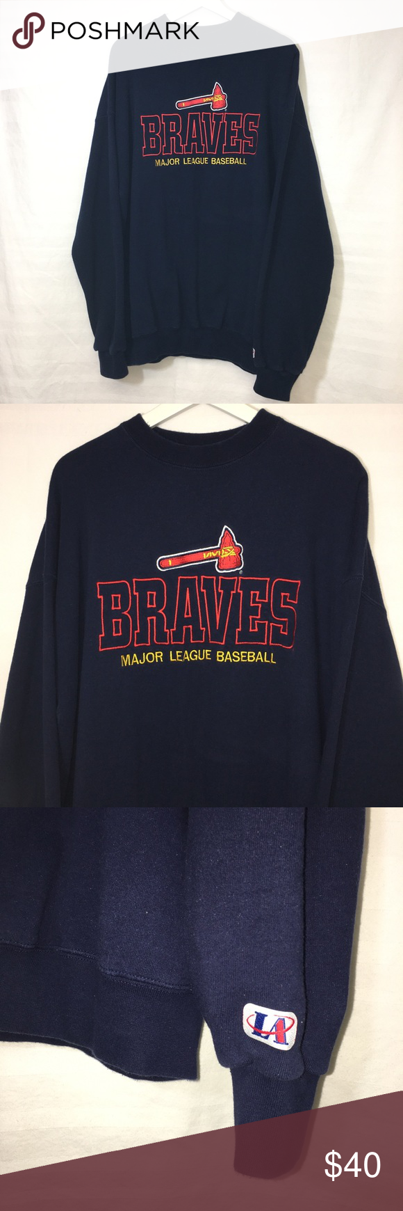 Vintage Braves Sweatshirt Sweatshirts Vintage Sweatshirt Crew Neck Sweatshirt