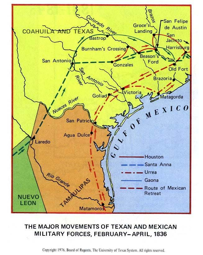 The Major Movements Of Texan And Mexican Military Forces February - Battle of san jacinto map us